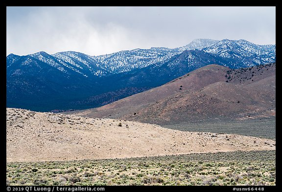 Foothills and snowy mountains, Mt Irish range. Basin And Range National Monument, Nevada, USA (color)