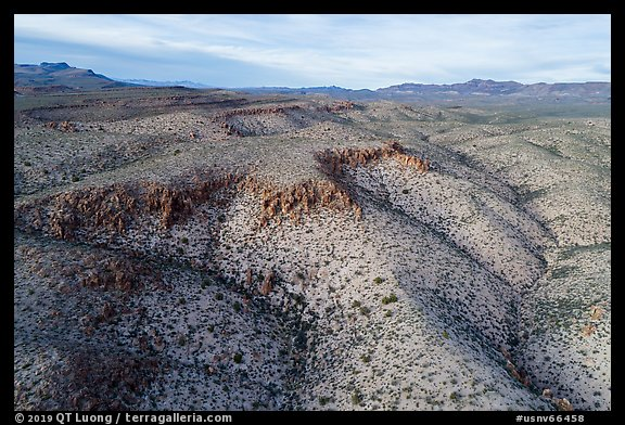 Aerial view of White River Narrows Archeological District. Basin And Range National Monument, Nevada, USA (color)