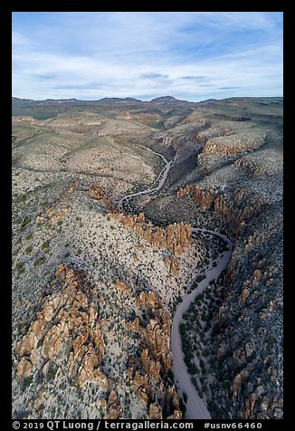 Aerial view of road and pinnacles, White River Narrows. Basin And Range National Monument, Nevada, USA (color)
