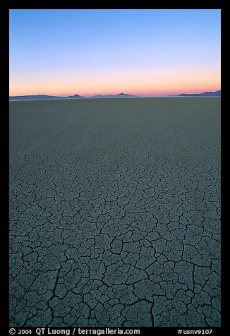Dried mud lakebed, dawn, Black Rock Desert. Nevada, USA (color)