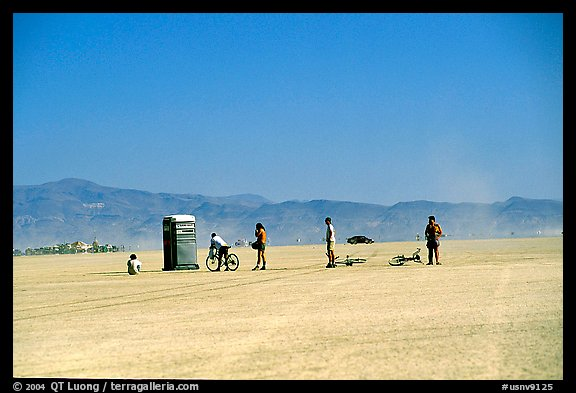 Line at the toilet, Black Rock Desert. Nevada, USA (color)