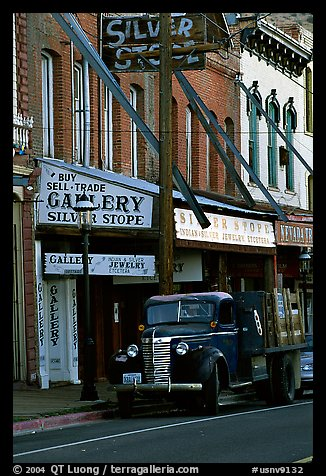 Old truck and storefronts. Virginia City, Nevada, USA (color)
