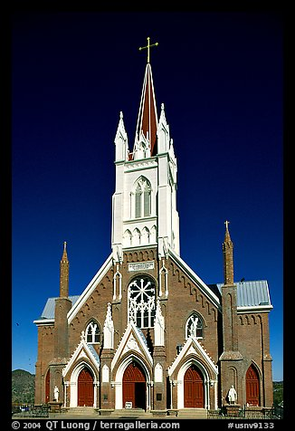 St Mary in the Mountains Church, afternoon. Virginia City, Nevada, USA (color)