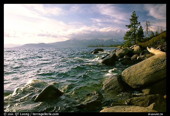 Rocky shore, Lake Tahoe, Nevada. USA (color)
