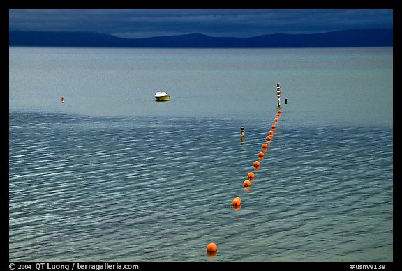 Buoy line, South Lake Tahoe, California. USA (color)