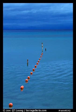 Orange Buoy line, blue hour, South Lake Tahoe, California. USA (color)