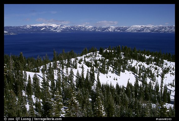 Lake in winter seen from the western mountains, Lake Tahoe, California. USA (color)