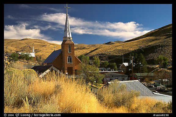 Church and town, Austin. Nevada, USA (color)