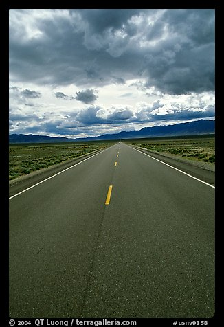 Road converging to the horizon. Nevada, USA (color)