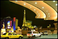 Taxis at hotel entrance, Paris Las Vegas. Las Vegas, Nevada, USA (color)
