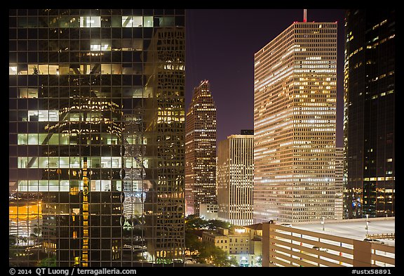 Downtown at night. Houston, Texas, USA (color)