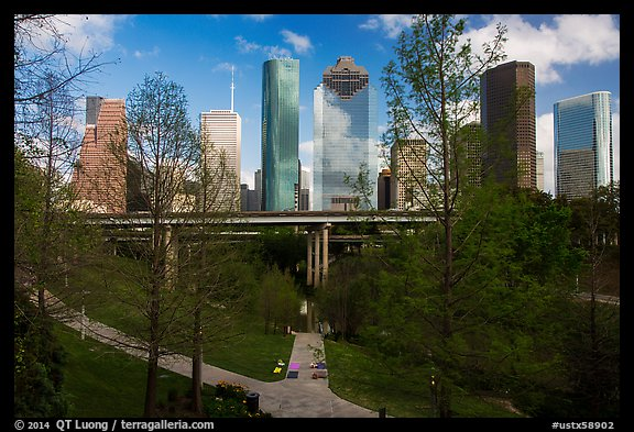 Skyline from park. Houston, Texas, USA (color)