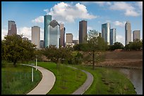 Park and downtown skyline. Houston, Texas, USA ( color)