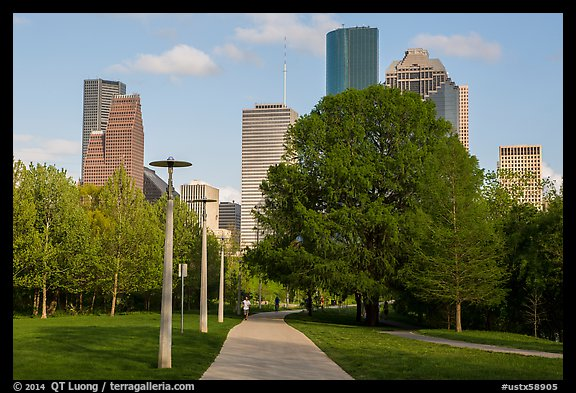 Park, trees, and skyline. Houston, Texas, USA (color)