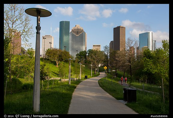 Path in park and skyline. Houston, Texas, USA (color)
