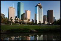 Skyscrapers from Sabine to Bagby Promenade. Houston, Texas, USA ( color)