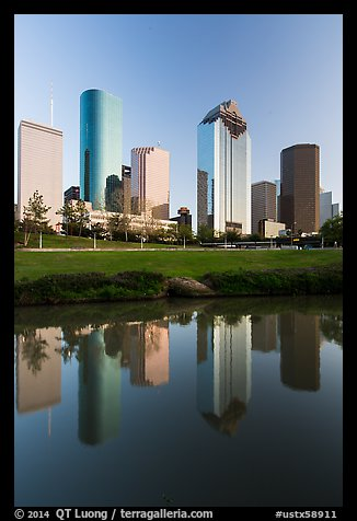 Skyscrapers and reflections. Houston, Texas, USA (color)