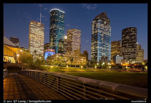 Skyline from footbridge at night. Houston, Texas, USA (color)