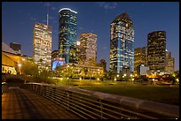 Skyline from footbridge at night. Houston, Texas, USA ( color)