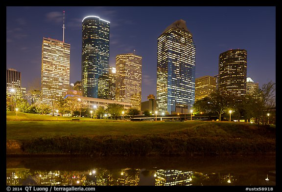 Dowtown skyline at night. Houston, Texas, USA (color)