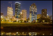 Dowtown skyline at night. Houston, Texas, USA ( color)
