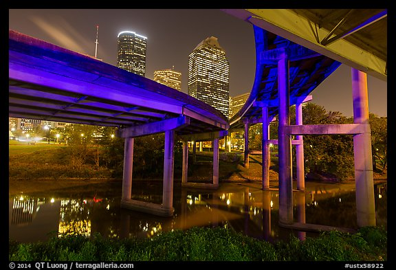 Skyline from under highway bridges at night. Houston, Texas, USA (color)