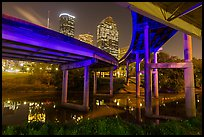 Skyline from under highway bridges at night. Houston, Texas, USA ( color)