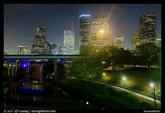 Buffalo Bayou and skyline at night. Houston, Texas, USA (color)