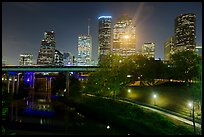 Buffalo Bayou and skyline at night. Houston, Texas, USA ( color)