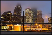 Downtown skyline on foggy dawn. Houston, Texas, USA ( color)