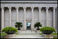 Facade with columuns and motto, Museum of Fine Arts. Houston, Texas, USA ( color)