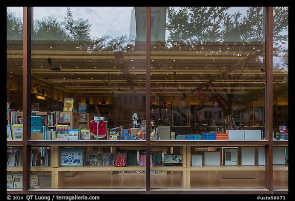 Museum store window reflections. Houston, Texas, USA (color)