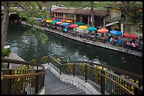Staircase and colorful umbrellas, Riverwalk. San Antonio, Texas, USA ( color)