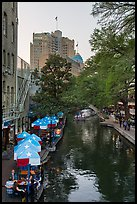 Riverwalk promenade, approaching barge. San Antonio, Texas, USA ( color)