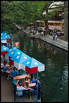 Restaurant tables under Texas flag umbrellas. San Antonio, Texas, USA ( color)