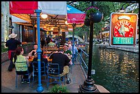 Republic of Texas restaurant on Riverwalk. San Antonio, Texas, USA ( color)