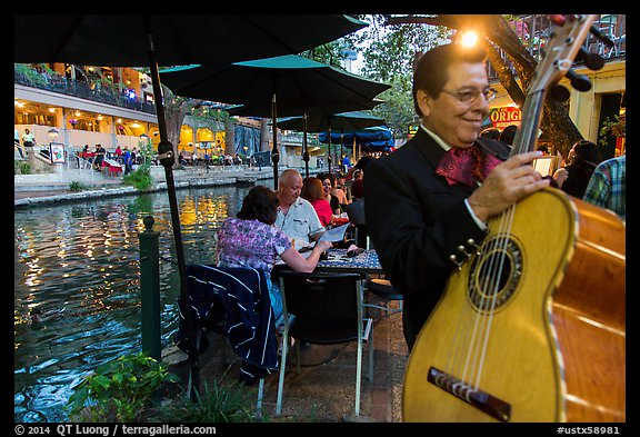 Musician on Riverwalk. San Antonio, Texas, USA (color)
