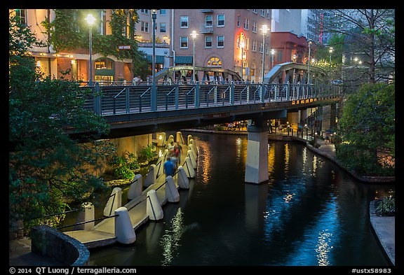 Bridge on Riverwalk. San Antonio, Texas, USA (color)
