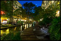 Waterfall at dusk, Riverwalk. San Antonio, Texas, USA ( color)