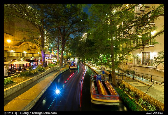 Barge at night, Riverwalk. San Antonio, Texas, USA (color)