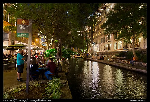 Riverwalk at night. San Antonio, Texas, USA (color)
