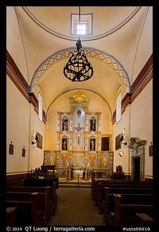 Interior of church, Mission San Jose. San Antonio, Texas, USA (color)