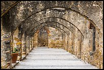 Arched walkway leading to the church, Mission San Jose. San Antonio, Texas, USA ( color)