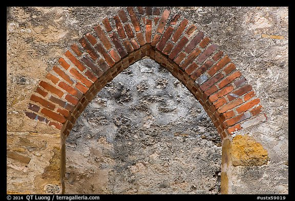 Portal, Convento, Mission San Jose. San Antonio, Texas, USA (color)