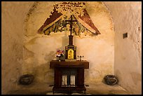 Secondary altar in adobe room, Mission Concepcion. San Antonio, Texas, USA ( color)