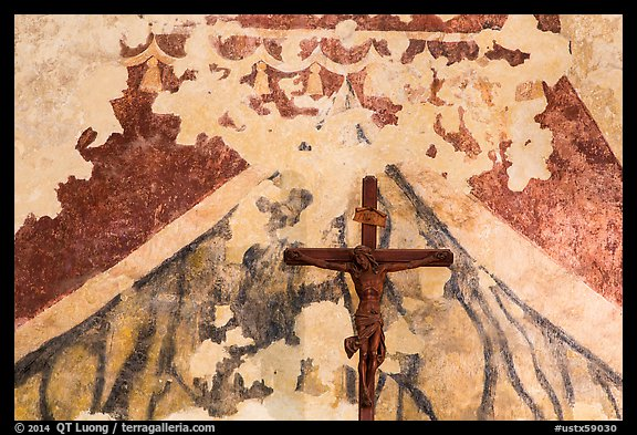 Fading fresco and crucifix. San Antonio, Texas, USA (color)