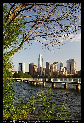 Skyline and Colorado River. Austin, Texas, USA (color)