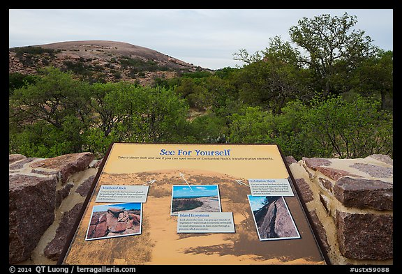 Interpretive sign, Enchanted Rock state park. Texas, USA (color)
