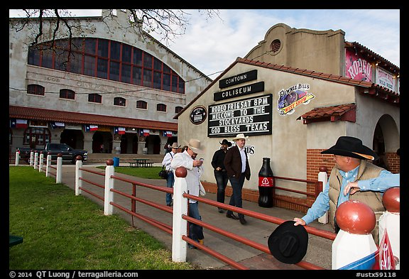 Men in front of Cowtown Coliseum. Fort Worth, Texas, USA (color)