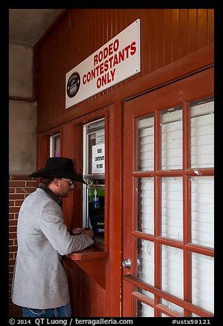 Man registers as rodeo contestant, Stockyards. Fort Worth, Texas, USA (color)